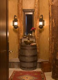 Rustic Wood Medicine Cabinet Bathroom Wallpapered Bathroom Design Idea Featured Diy Black