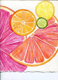 Lemon And Lime Kitchen Decor Grapefruit Watercolor Painting Original Citrus Art 5 X 7 Kitchen