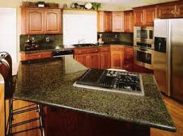 kitchen with green countertops