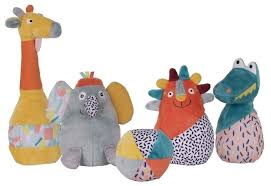 Набор <b>мягких игрушек Ebulobo Мягкий</b> боулинг Зоопарк 15 см ...