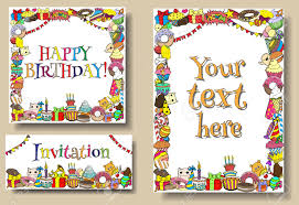 set greeting cards birthday party templates sweets doodles set greeting cards birthday party templates sweets doodles borders stock vector 44328207