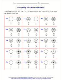 Free worksheets for comparing or ordering fractionsExample worksheets