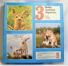 Vintage <b>Complete 3</b> x Schmid Baby <b>Animals</b> Jigsaw Puzzle 56 ...