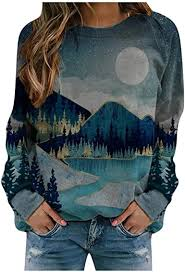 SPE969 Women's Loose Sweatshirt Mountain-<b>Theme</b> Printed ...