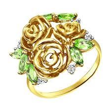 Кольцо из желтого <b>золота</b> с хризолитами и фианитами ...
