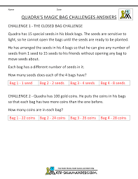 th grade math problems quadra s magic bag challenge middot answers tyger s fishy problems