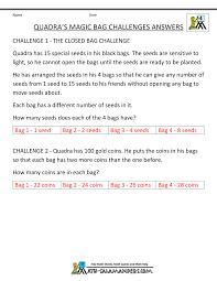 th grade math problems quadra s magic bag challenge middot answers tyger s fishy problems