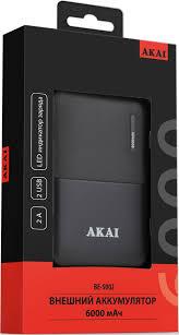 Внешний аккумулятор <b>Akai BE-5002</b> 6000mAh Black недорого с ...