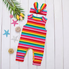Infant Baby <b>Girl Summer</b> Rainbow Stripe One Piece Romper ...