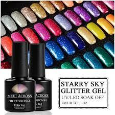 <b>MEET ACROSS</b> 7ml Multi-color Nail <b>Gel Polish</b> Manicure Glitter ...