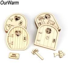 Online Shop <b>OurWarm 6pcs</b> 3D Wooden Fairy Garden Door Kit with ...