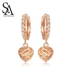 <b>SA SILVERAGE 18K</b> Yellow Gold and Rose Gold Heart Shape Drop ...