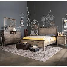furniture of america seashore 4 piece weathered oak bed set bedroom furniture set