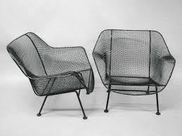 pair wrought iron and mesh lounge chairs by woodard furniture for patio furniture ideas black wrought iron furniture