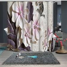 <b>WONZOM Polyester Fabric</b> Shower Curtains with 12 Hooks For ...