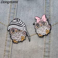 <b>DMLSKY</b> Best friend Owl Couple Pins Enamel Pin Brooch For Dress ...