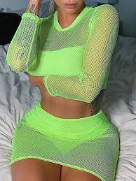 <b>Neon Green Patchwork Mesh</b> Fishnet Round Neck Long Sleeve ...
