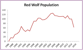 Image result for red wolf population graph