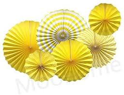 Moohome Yellow Hanging Paper Fans Set,Colorful ... - Amazon.com