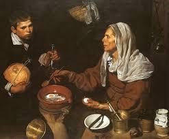 Cuadro de Velázquez,Vieja friendo huevos,  utilizado para la entrada la evolución del bodegón realizada para la academia de dibujo y pintura Artistas6 de Madrid.