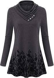 BIUBIU Women's <b>Casual</b> Long Sleeve <b>Button Cowl Neck</b> Floral ...