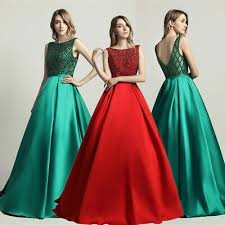 <b>Dark Green</b> Satin Formal <b>Evening</b> Ball Gown <b>Beaded Long</b> Party ...