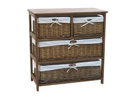 white storage unit wicker: wide wooden storage cabinet with  wicker baskets brown
