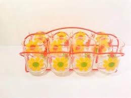 Libbey Mid-Century Retro Flower Power <b>9 Piece Bar Set</b> in 2020 ...