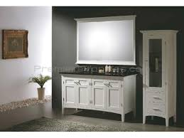 white wooden bathroom vanities with tops and sinks plus faucets on grey floor matched with dark black and white bathroom furniture