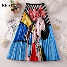 REALEFT Spring Summer <b>2019 New Arrival Cartoon</b> Printed A Line ...