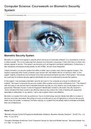 premiumessays net computer science coursework on biometric security s