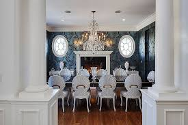 dark dining room ideas image luxurious dining room with blue walls white ceiling massive chandelier