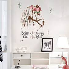 Buy kelaTSI Wall Sticker Paper <b>Removable</b> Flower <b>Horse</b> Head ...