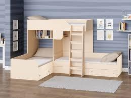 Трехместная <b>двухъярусная кровать Трио</b> Дуб молочный ...