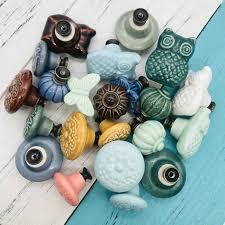 1Pcs Vintage Color Multi Designed <b>Ceramic</b> Daroca <b>Cabinet Drawer</b> ...