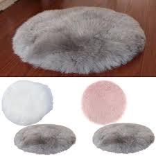 <b>2Pcs</b> Faux Fur Plush Rug <b>Cushion</b> Pad Chair Stool Hairy <b>Shaggy</b> ...