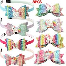 XIMA 8pcs Glitter Unicorn Headband Hair Bows ... - Amazon.com