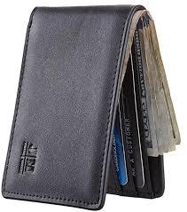 Gostwo Mens <b>Leather</b> Wallet Slim Front Pocket Wallet Billfold RFID