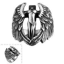 316L <b>Stainless Steel</b> Charm Retro <b>Punk Angel</b> Ring Personalized ...