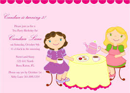 children s tea party birthday invitation wording wedding children s party invitation wording ideas