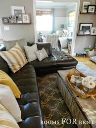 Of Living Rooms With Black Leather Furniture How To Style A Dark Leather Sofa Den Makeover Beneath My Heart