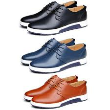 British <b>Men Casual</b> Genuine <b>Leather</b> Shoes Lace-up Sneakers ...