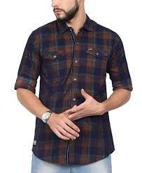 NORTH REPUBLIC Men's Checkered <b>Corduroy</b> Full Sleeves Slim ...