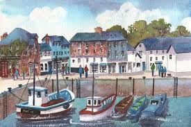 Watercolour Print, Padstow Harbour, Cornwall, England, 14ins x ...