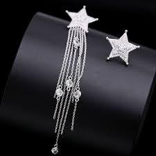 Platinum Earrings Wave <b>Micro</b>-<b>Inlaid Zircon</b> Star Fringe Asymmetric ...