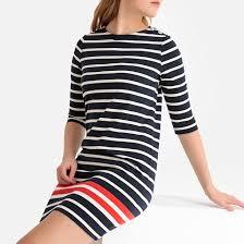 <b>Платье короткое</b> прямое с рукавами 3/4 белая полоска <b>La</b> ...