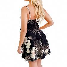 YuJian12 <b>Summer Sexy</b> V Neck Backless Print Dress <b>Women Black</b> ...