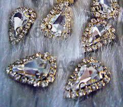 Teardrop Sew On <b>Rhinestones Crystal</b> Clear DIY 4 hole Gold ...