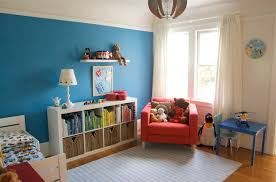 dashing blue wall paint with blue kids furniture wall