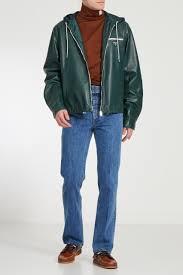 Зеленая <b>кожаная куртка с капюшоном</b> Prada – купить в интернет ...